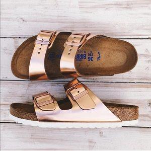 Copper/Rose Gold Birkenstocks Arizona Soft Footbed